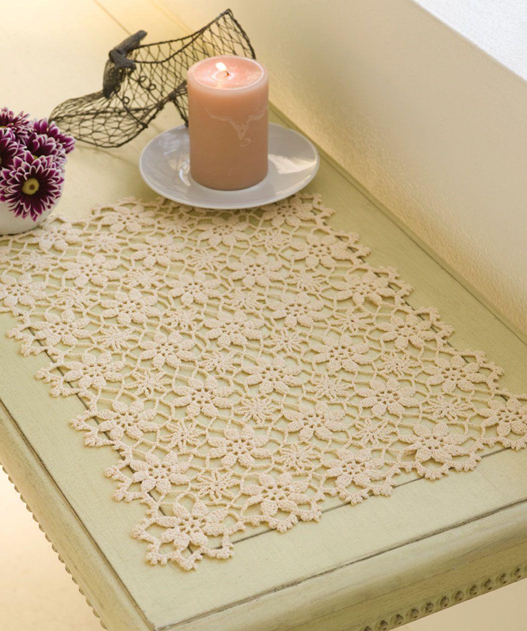 Apple Blossom Placemat | Crochet ... KITCHEN ... potholders, trivets ...