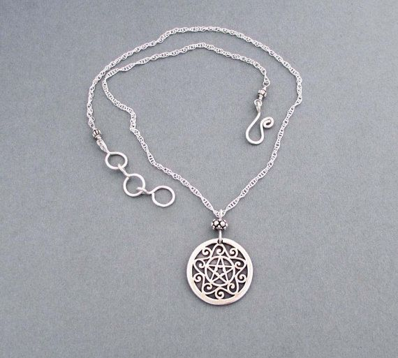 Sterling silver pentacle necklace wiccan jewelry by seventhwillow sterling silver pentacle necklace wiccan jewelry by seventhwillow aloadofball Images