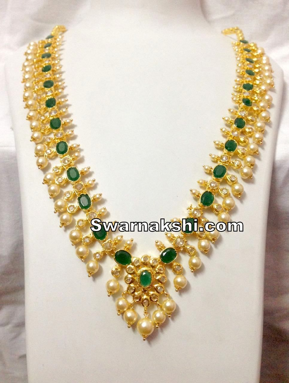 9b57843f09c 1 gram gold long necklace cz emerald oval stone model buy online in ...