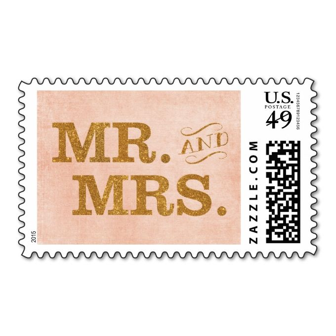 Mr And Mrs Gold And Coral Wedding Stamp Zazzle Com Coral Wedding Invitations Gold Wedding Invitations Design Coral Wedding