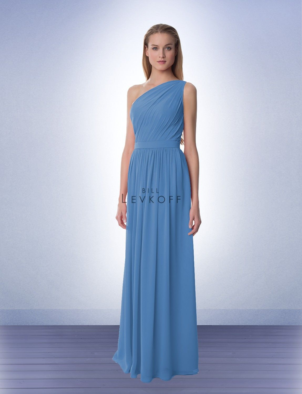 Bridesmaid dress style bill levkoff cornflower bridesmaids