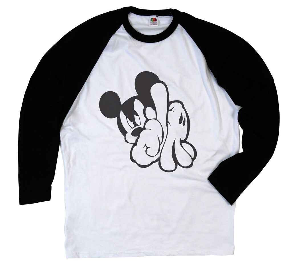 MICKEY MOUSE LA HANDS SWAG DOPE FRESH TRILL ILLEST LONG SLEEVE BASEBALL T  SHIRT