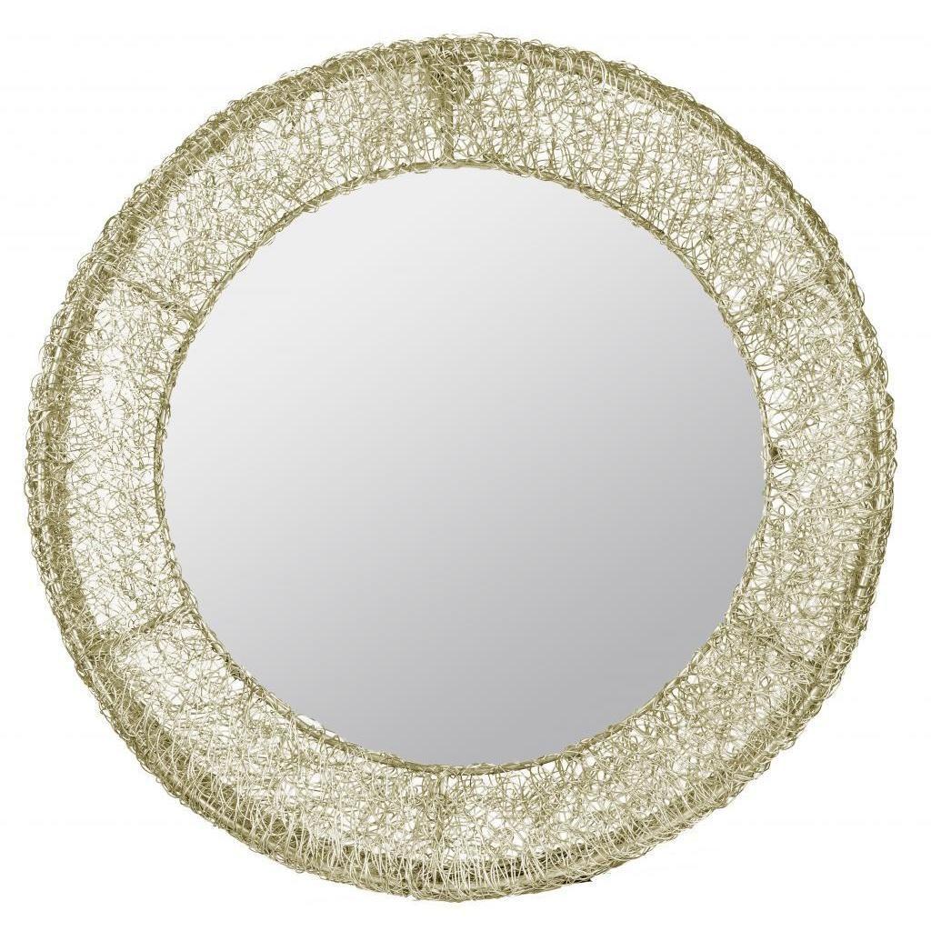 Wire capiz sunburst wall mirror - Cooper Classics Sersei Aged Goldtone Coiled Wire Mirror 19 Diameter Gold