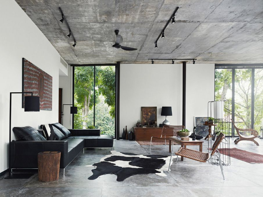 I am liking the grey ceiling with the white walls. And stained ...