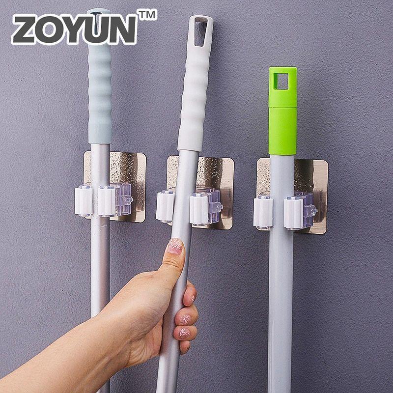Wall Mounted Mop Organizer Holder Brush Broom Hanger Rack Hanging Pipe Hooks