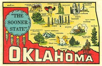 Vintage oklahoma state map goldfarb travel water decal Water and