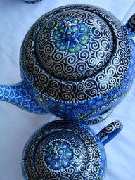 blue teaset