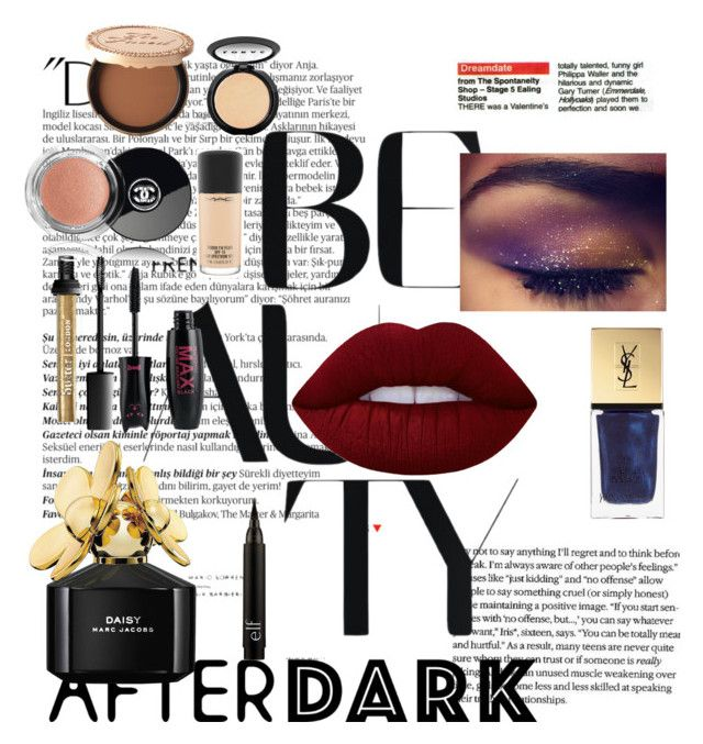 """""""After dark"""" by fashionforever19 ❤ liked on Polyvore featuring beauty, Balmain, Lime Crime, Marc Jacobs, Yves Saint Laurent, Too Faced Cosmetics, Chanel, LORAC, MAC Cosmetics and NYFW"""