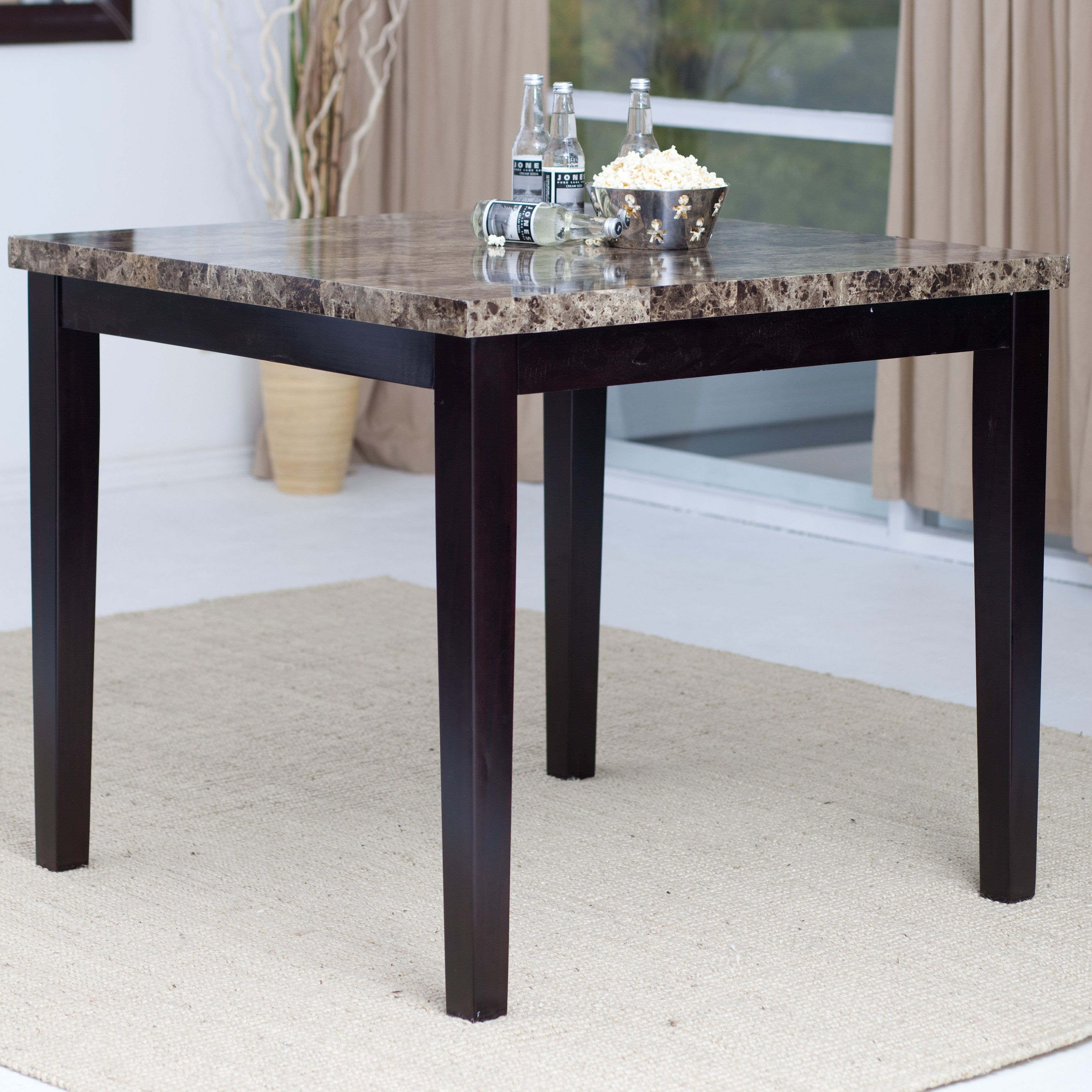 Bon Palazzo Counter Height Dining Table   With Marble Veneer Tabletop 42L X 42W  X 36H Inches