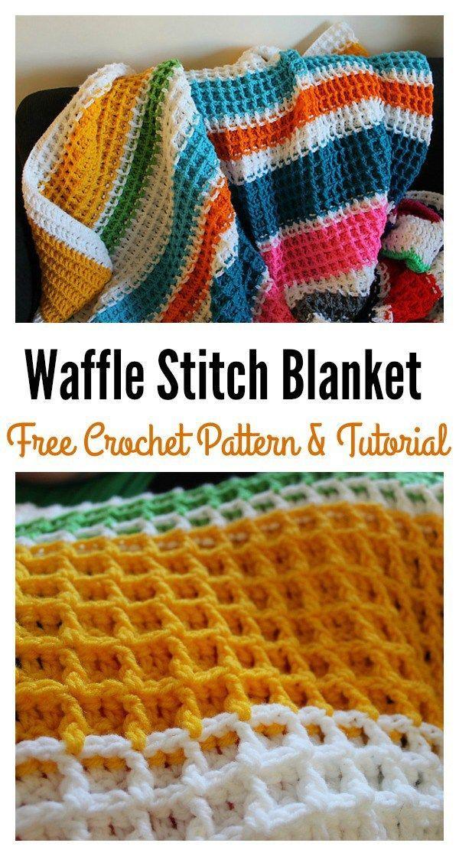 Waffle Stitch Crochet Blanket Free Pattern | Manta, Mantas para ...
