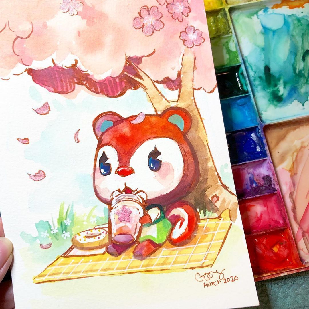 It S April 1st Which Means The Cherry Blossom Trees Are Out In Animal Crossing Ahhhhhhhhhhhhh Animal Animal Crossing Old Art Cherry Blossom Tree
