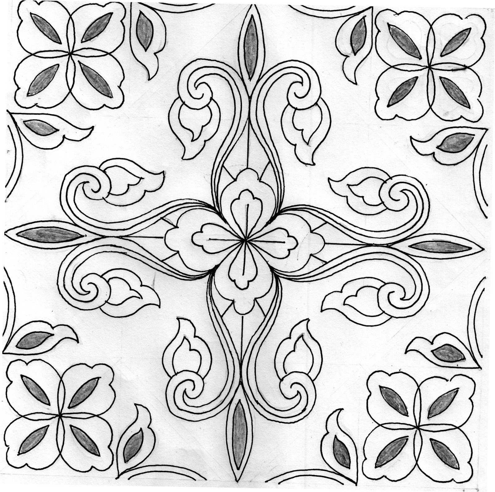 Gambar Motif Batik Tulis Sederhana Di 2020 Sketsa Gambar Bunga