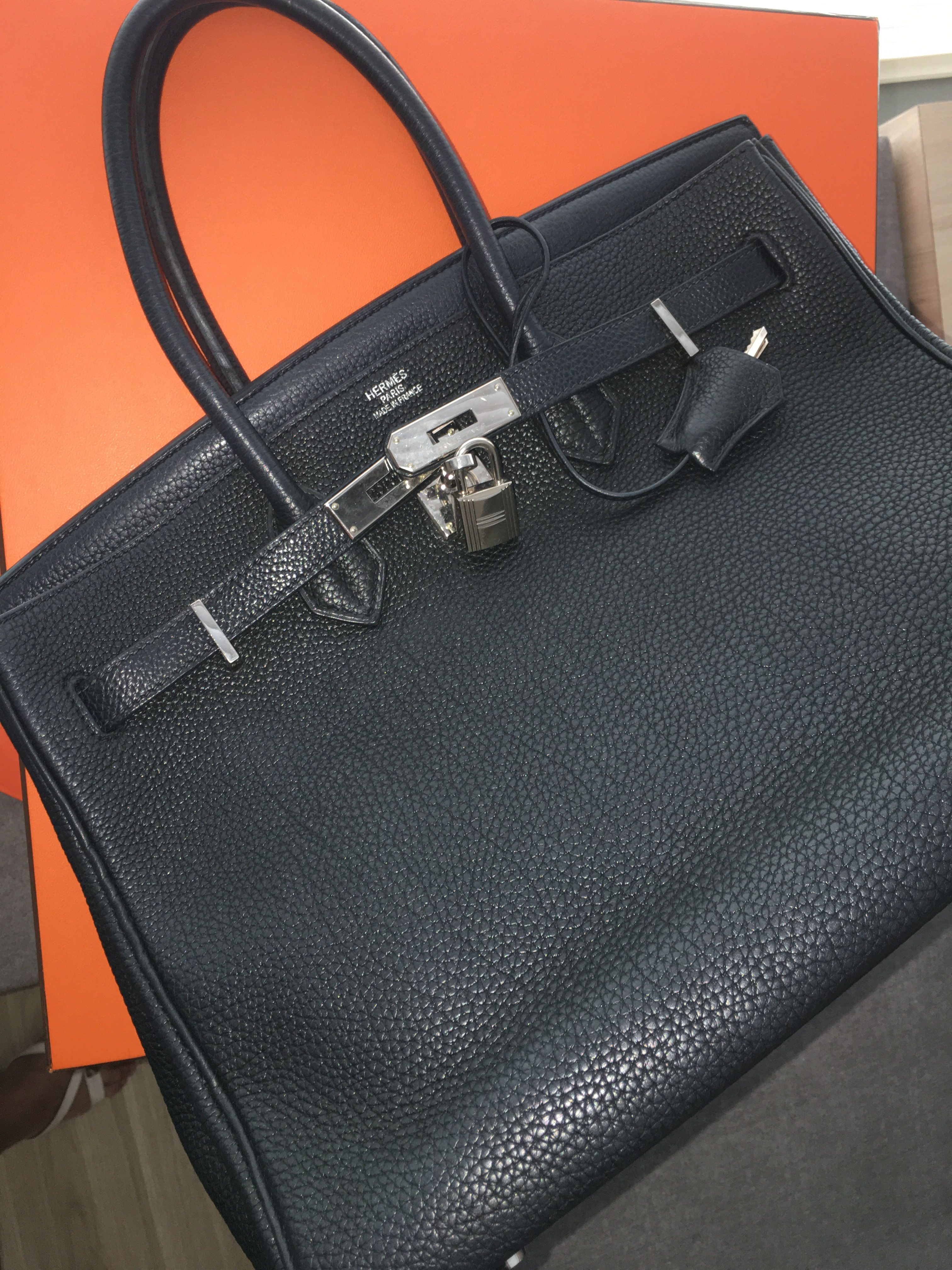 f7000a9a85 Model  Hermes Birkin 35 Year  M Color  Navy Blue almost black Leather