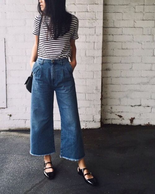 797056090b Striped top and cropped, wide-leg denim. | Style I Adore | Fashion ...