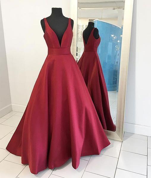 Elegant A-Line V-Neck Sleeveless Burgundy Satin Long Prom Dress from ... 33a7695c9f2d