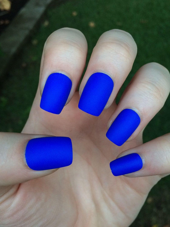 Royal blue fake nails matte nails matte press on por nailsbykate ...