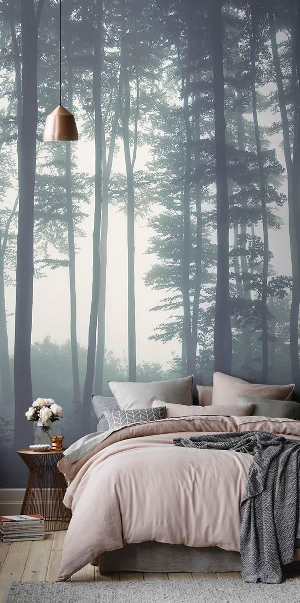 Cool Wall Mural Of Forest Tree Fog