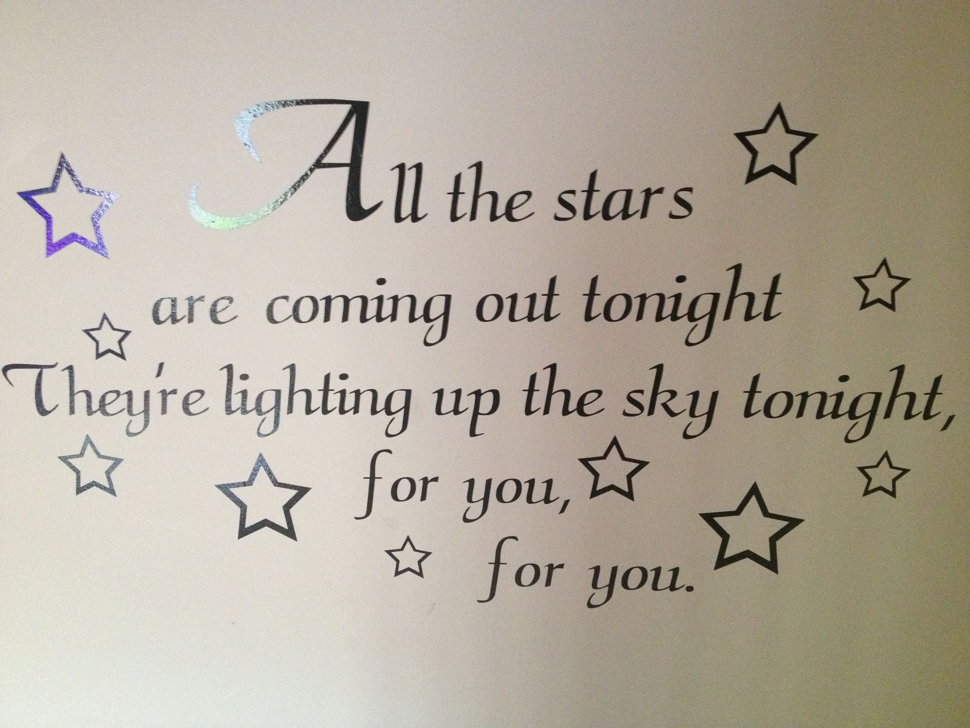 On the wall at the bottom of my staircase.. All the stars
