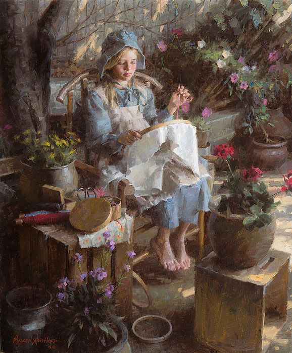 "The Needlepoint Artist by Morgan Weistling LIMITED EDITION CANVAS Image size: 20""w x 24""h.  Limited Edition of: 75"