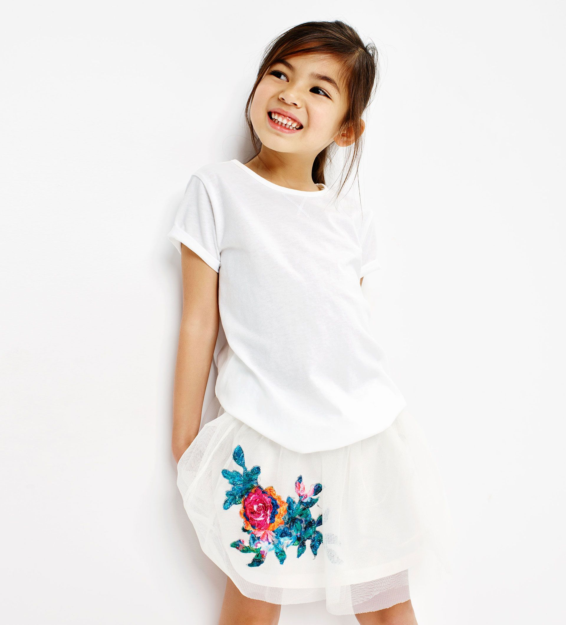 Floral Appliqué Tulle Skirt Kids Fashion Kids Outfits