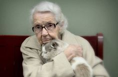 """Iona L. tem 102 anos de idade. Edward, o gato, tem 2. E esse é o momento em que eles se conheceram no abrigo de animais: """"A cena aqueceu meu coração"""", disse Barbara Bates, coordenadora do abrigo de..."""