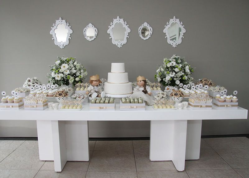 White and beige baby shower dessert table event baby Elegant baby shower decorations