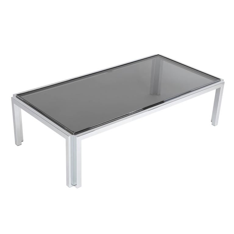 Rectangular Chrome And Smoked Glass Coffee Table Circa 1970s Chrome Side Coffee Table Glass