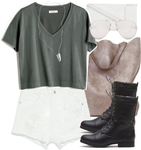 Madewell black tee / Zara shorts / Combat boots / Suede purse / Lovebullets…