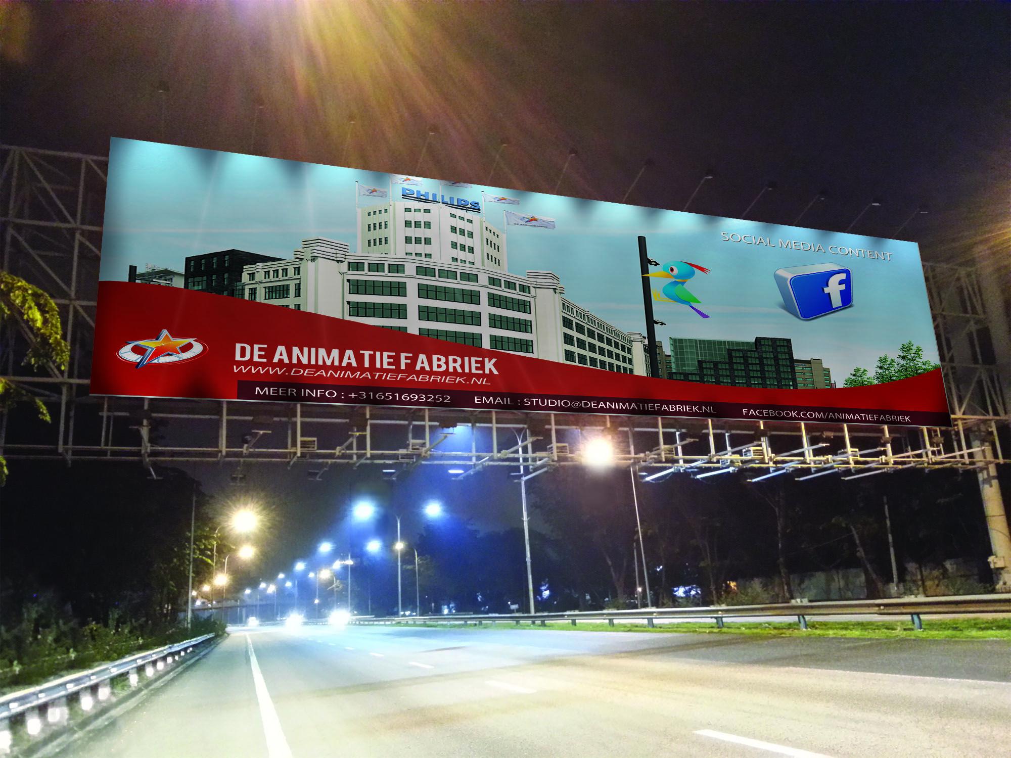 Onze banner maar dan tijdens de nachtelijke uren. Op deze manier krijg je pas een idee hoe uw reclame er uit ziet bij avond.