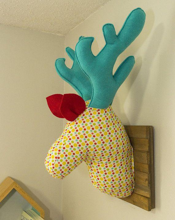 Deer wall mount art. Stuffed Deer Head. Faux Taxidermy. Polka dots ...