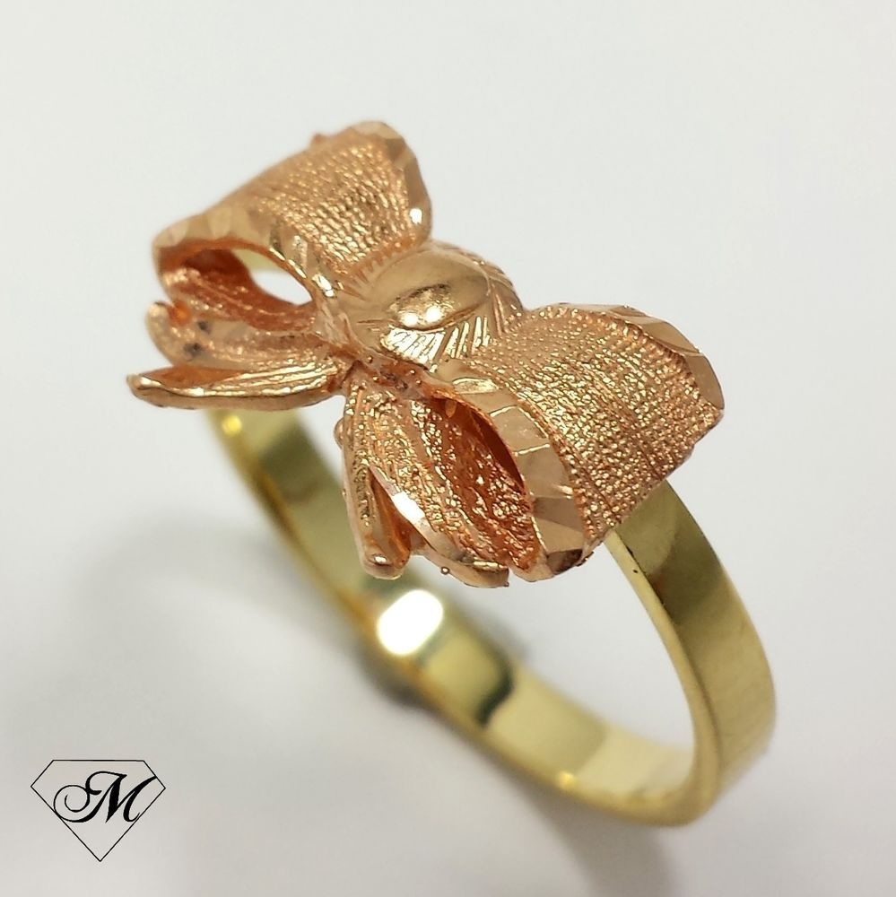 Estate Jewelry Beverly Hills Gold 14k Yellow Rose BOW Fashion Ring
