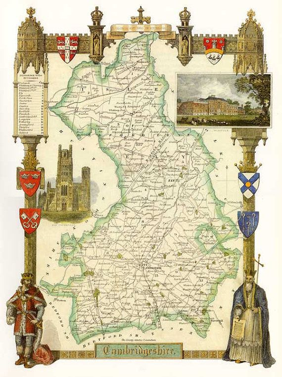 Cambridgeshire Antique English County Map of by OldEnglishPrints