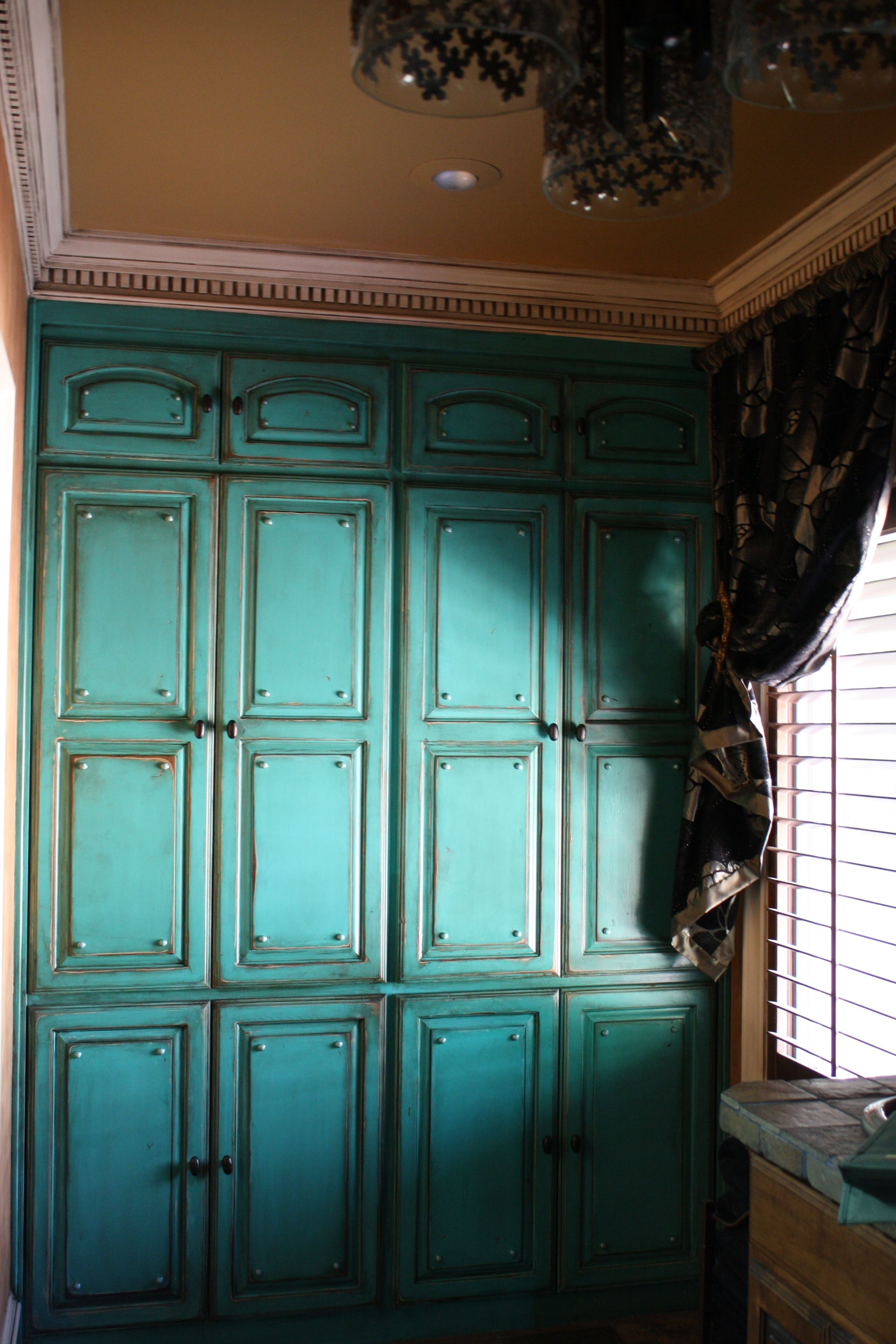Distressed Turquoise Bank Of Cabinets Turquoise Nail Heads Shabby Chic Kitchen Painting Cabinets Painting Kitchen Cabinets