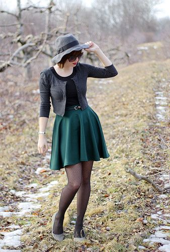 IMG_0331a by swingthedayaway, via Flickr Forest green, black, and grey. I love my new skirt from @boohoo I also love the way this apple orchard looks in the winter.