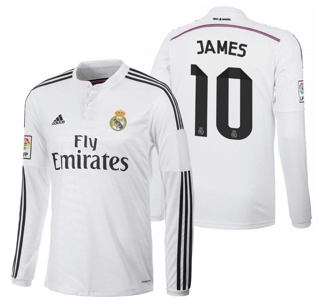 buy online c6a1e 25822 ADIDAS JAMES RODRIGUEZ REAL MADRID LONG SLEEVE HOME JERSEY ...