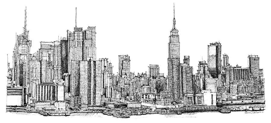 New york skyline as gift drawing by building art new for Printing architectural drawings