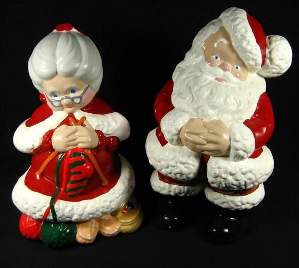 Vtg Atlantic Mold Christmas Large Painted Ceramic Mr Mrs Santa Claus Figurines Christmas Retro Christmas Holiday Crafts