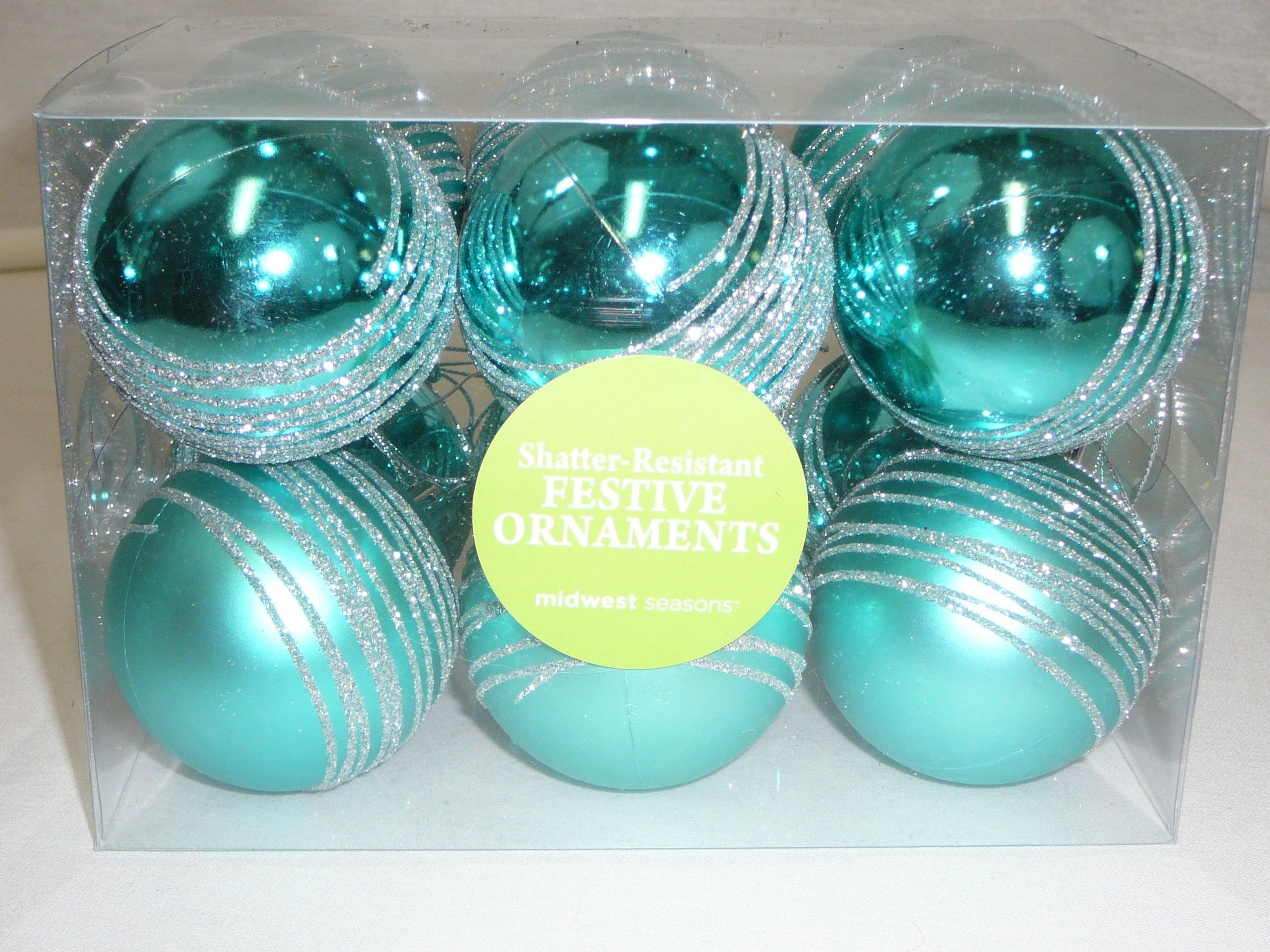 "Amazon.com - Set of (12) Shatterproof Christmas Ornament Balls, Turquoise w/Silver Glitter, 2"" -"