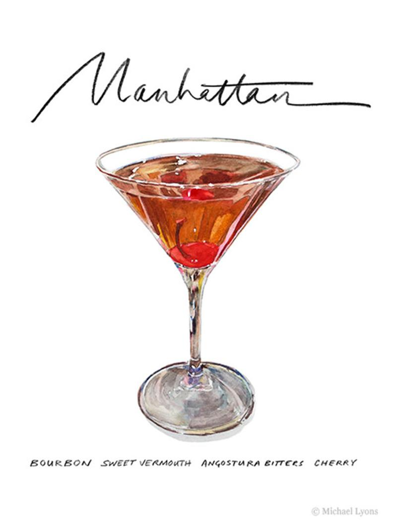 Manhattan Cocktail 9x12 Framed Watercolor Print Etsy Manhattan Cocktail Cocktails Drawing Cocktails