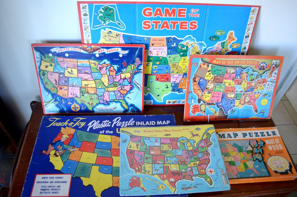 Vintage Children's USA Map Puzzles & Games (With images