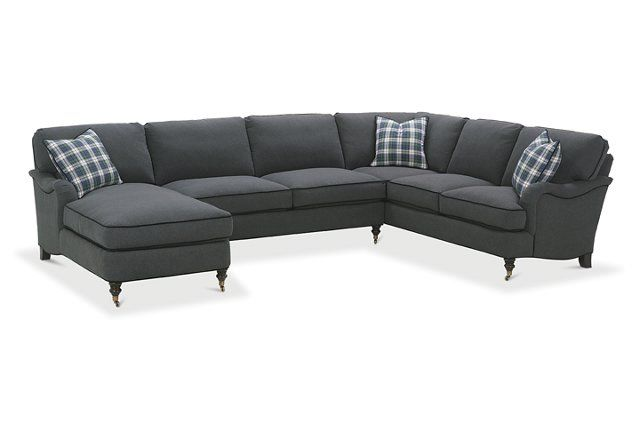 Brooke Roll Arm Sectional Onyx Settee Living Room Sectional Sofa Furniture