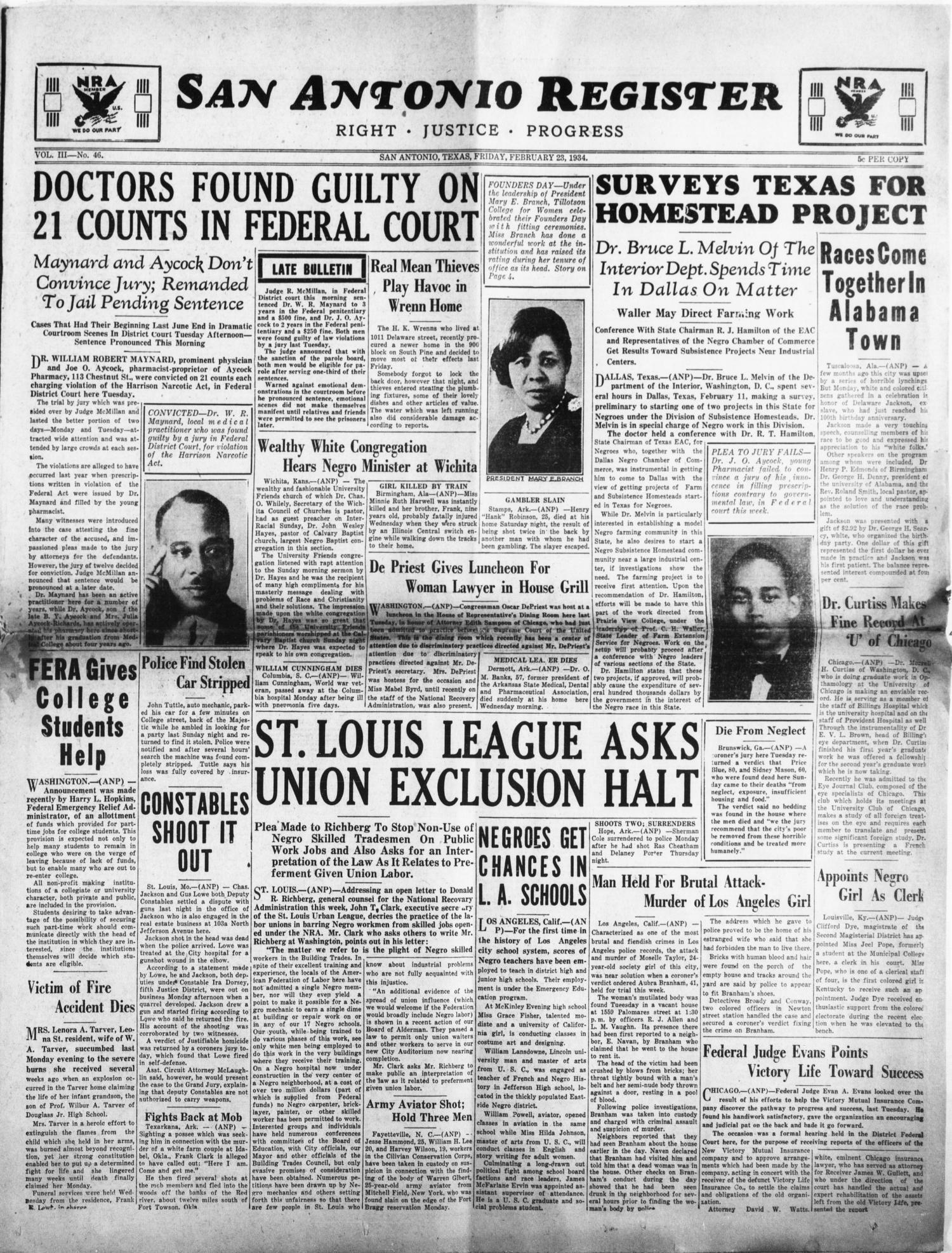 Ldr W R Maynard San Antonio Medical Professionals Morning Papers