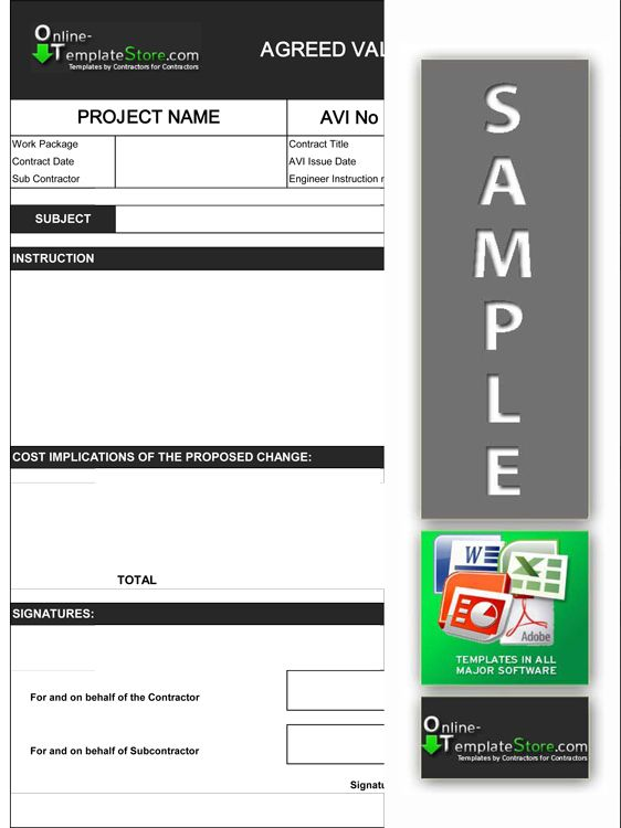 Agreed Value of Instruction form (AVI) Cost Control Templates - letter of engagement template free