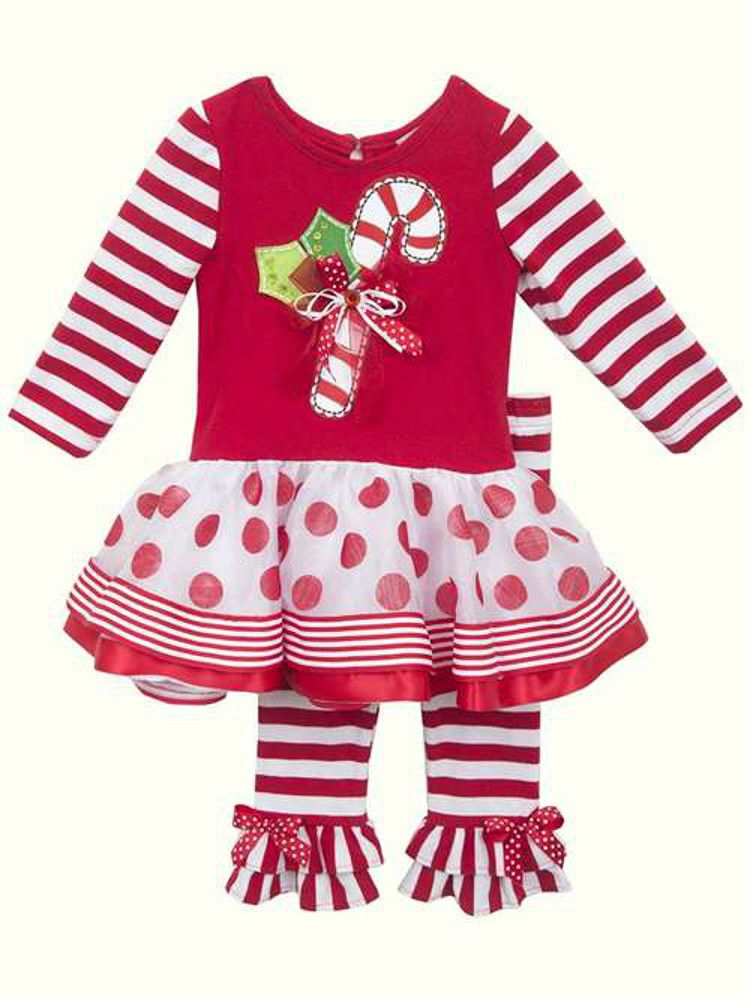 Rare Editions Christmas Toddler.Rare Editions Little Girls Candy Cane Dot Stripe Christmas