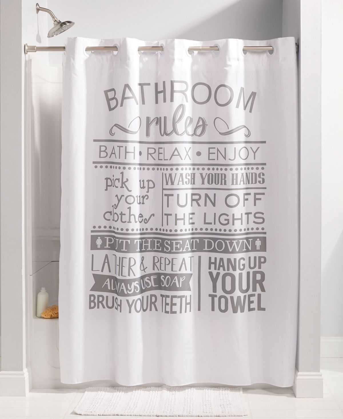 Hookless Bathroom Rules Shower Curtain Multi Bathroom Rules