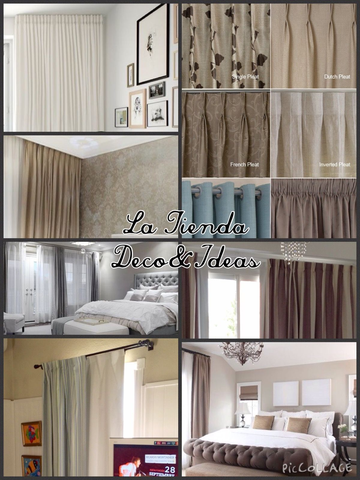 estilos de cortinas en diferentes telas y cabezales by la tienda decouideas