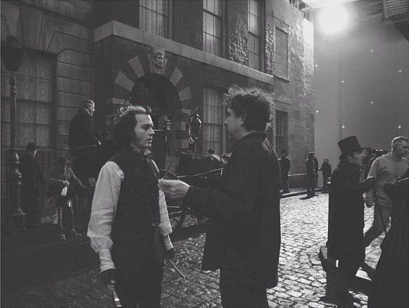 Sweeney Todd on the set with Tim Burton