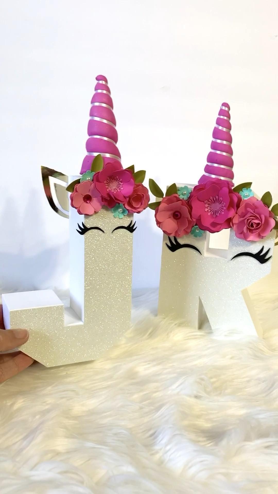Letras 3D para fiesta de unicornio