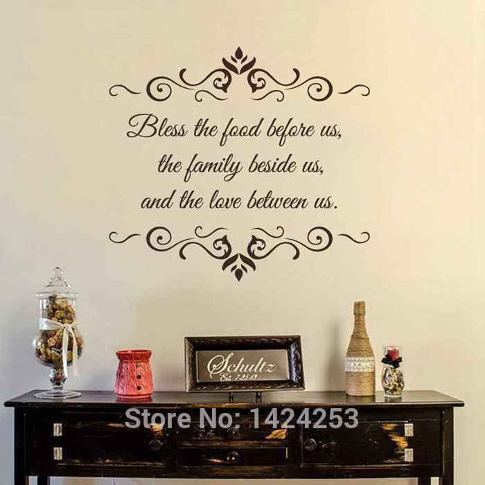 Battoo Kitchen Large Wall Decals  Bless The Food Before Us Prepossessing Dining Room Wall Quotes Inspiration