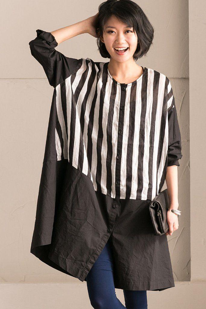 b36c0cff15623d Stripe Big Size Round Neck Long Shirt Dress Summer and Spring Women Top  Q2706A